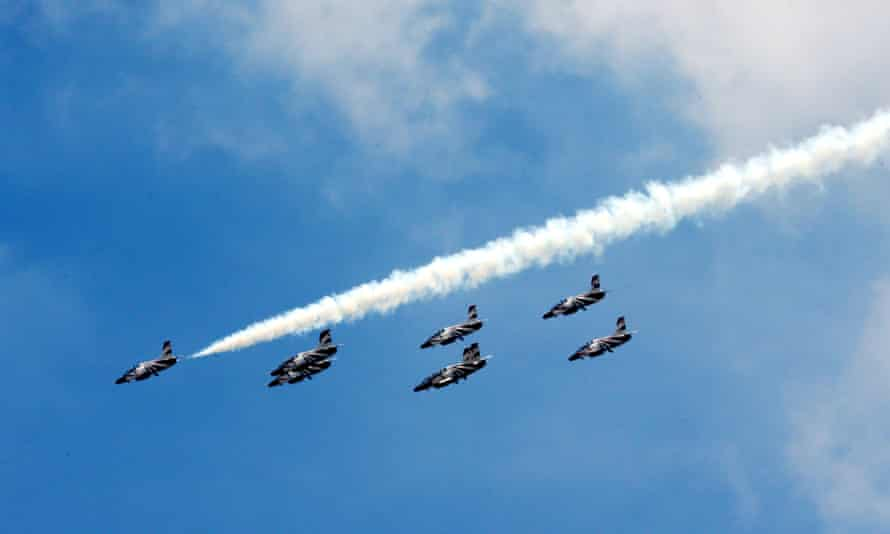 Egyptian Air force planes perform a show