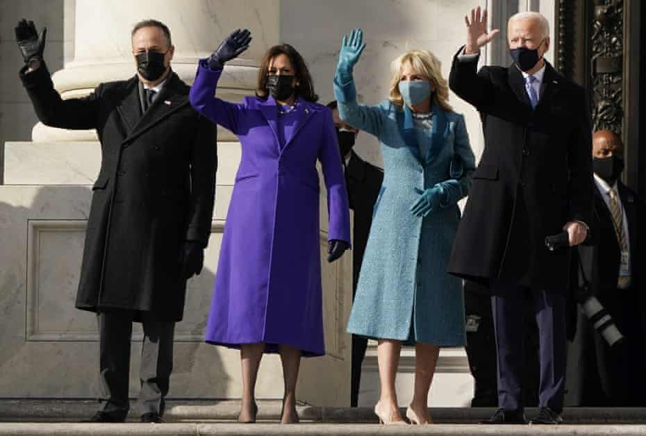 Both the president and second gentleman wore Ralph Lauren, Kamala Harris wore a purple coat and dress by Christopher John Rogers and Sergio Hudson, whilst Jill Biden wore an ensemble designed by Alexandra O'Neill.