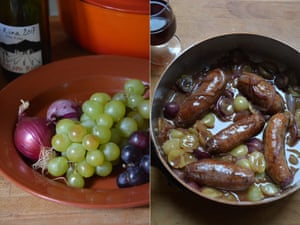 Rachel Roddy's sausages with grapes and red onion.