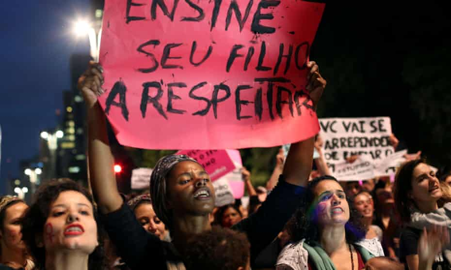 Demonstrators in Sao Paulo protest after the gang-rape of a 16-year-old girl in Rio de Janeiro