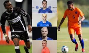 Six of Everton's signings last summer, from left: Henry Onyekuru, Michael Keane, Sandro Ramírez, Davy Klaassen, Jordan Pickford and Nathangelo Markelo