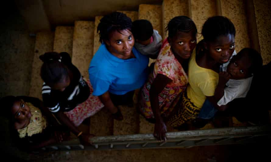 Girls with their babies in Freetown, Sierra Leone.