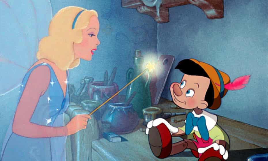 Pinocchio and the blue fairy in the 1940 Walt Disney movie.