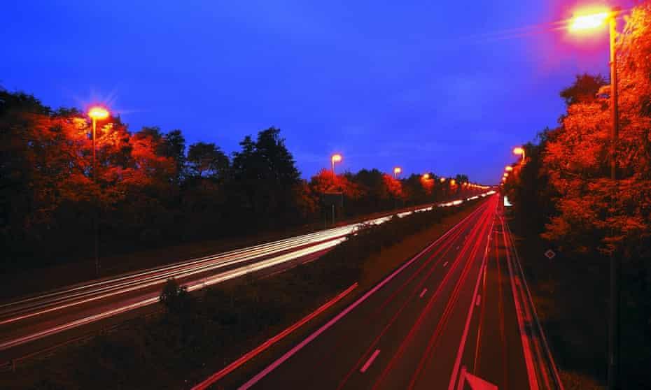 UK highway at night.
