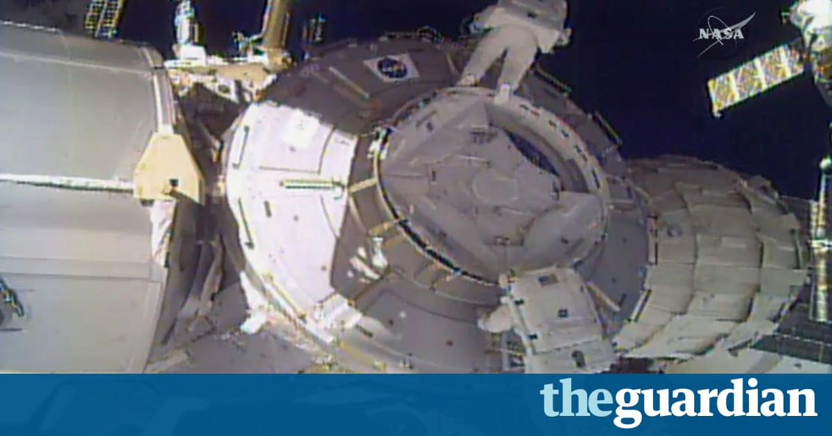 Lost in space: debris shield bag floats away from astronauts during  ISS spacewalk