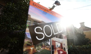 "A ""Sold"" sign outside a house in the suburb of Balmain in Sydney"
