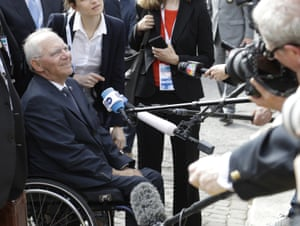 Germany's Finance Minister Wolfgang Schäuble arrives for the opening session of the G7 of Finance ministers in Bari, southern Italy, Friday, May 12, 2017. (AP Photo/Andrew Medichini)