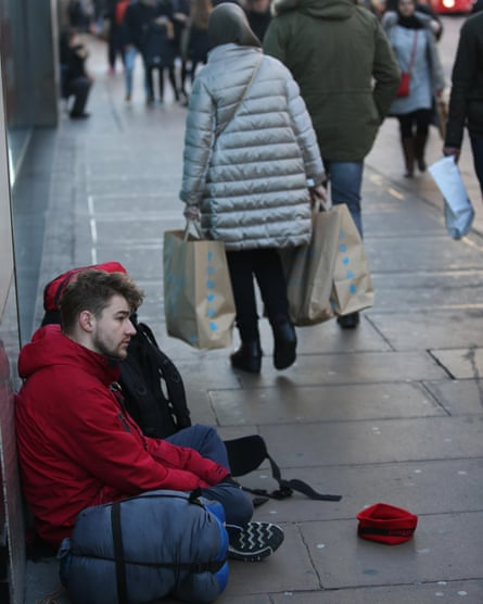 James Beavis during his month on the London streets.