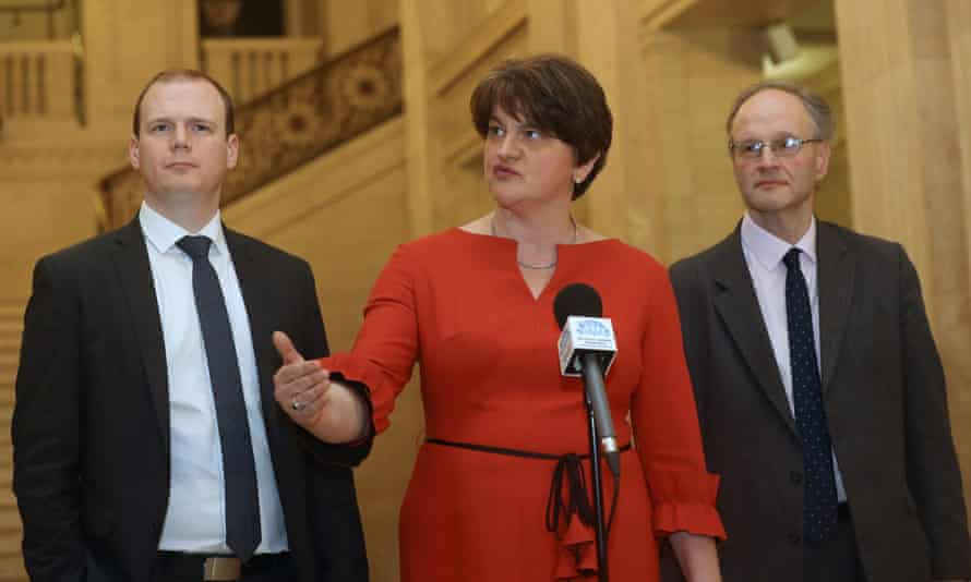 Northern Ireland first minister, Arlene Foster, with the DUP's Gordon Lyons (left) and Peter Weir.
