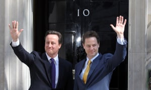 David Cameron and Nick Clegg outside No 10 Downing Street in May 2010