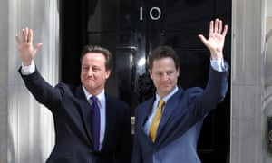 David Cameron and Lib Dem deputy prime minister Nick Clegg forming a coalition government in 2010.