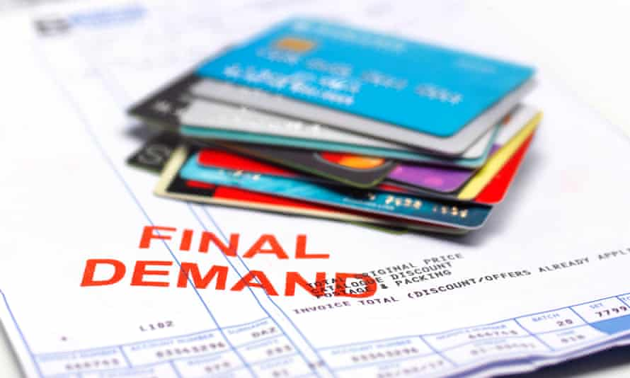 A 'final demand' bill and some bank cards