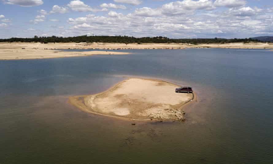 A newly revealed piece of land due to receding waters at the drought-stricken Folsom Lake in Granite Bay, California.