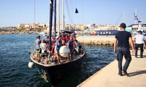 The migrant rescue ship Alex arrives in Lampedusa carrying 41 migrants rescued off Libya.
