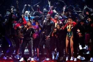 Stormzy, winner of best British male artist, performs at the Brit awards ceremony at London's O2 Arena.