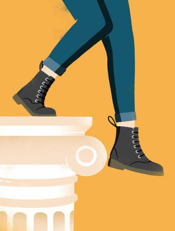 illustration of woman in jeans and boots stepping off the classical pedestal