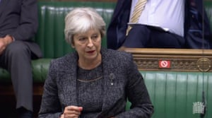 Theresa May speaking in the Commons.