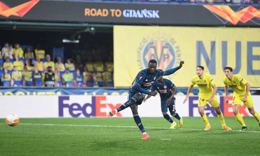 Nicolas Pépé scores from the penalty spot to bring Arsenal back into the game. They take a 2-1 deficit into the second leg against Villarreal.