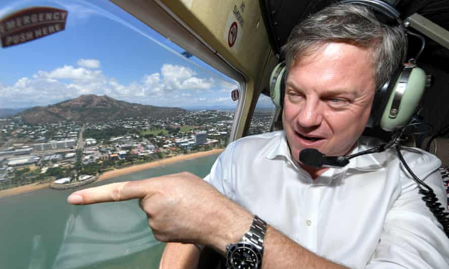 Queensland Liberal National party leader Tim Nicholls flies over Townsville on Thursday, where he says violent crime is 'out of control'.