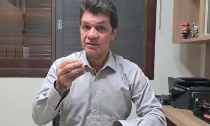A screengrab from the video posted by Clésio Salvaro, the mayor of Criciúma