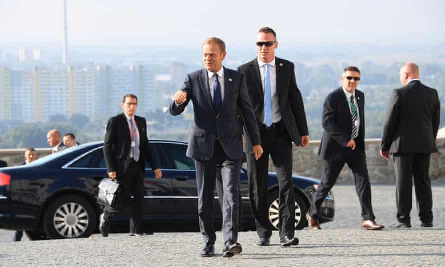 Donald Tusk arrives for the informal EU summit at Bratislava Castle.