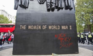 Anti-government graffiti on Whitehall second world war monument