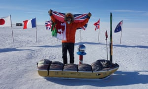 Parks celebrates on 15 January 2020 after reaching the South Pole in 28 days after battling hunger, blizzards and freezing temperatures.
