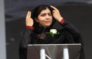 The human rights campaigner Malala Yousafzai delivers a speech in Trafalgar Square
