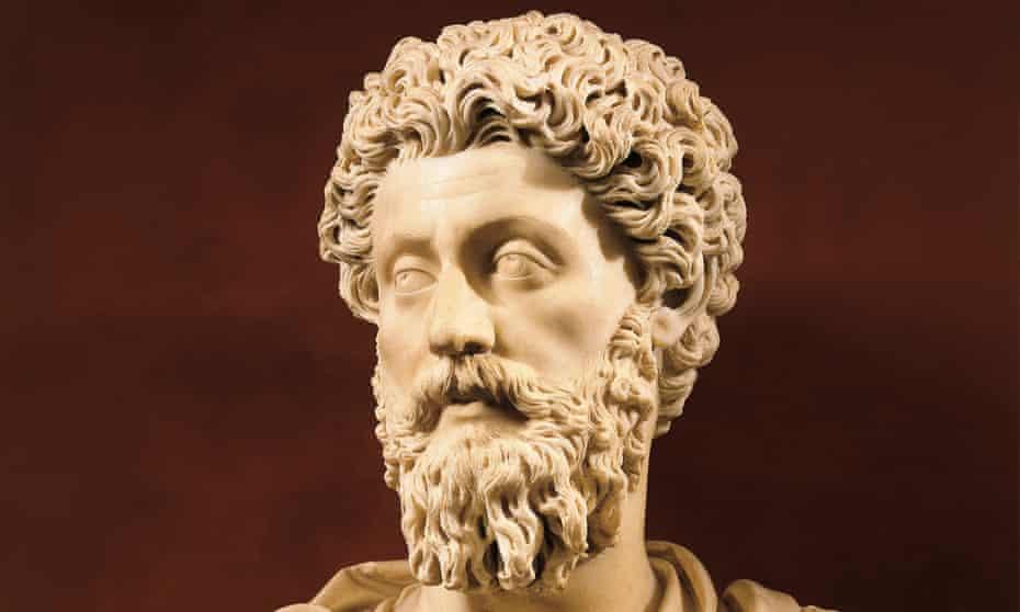 A bust of Emperor Marcus Aurelius.