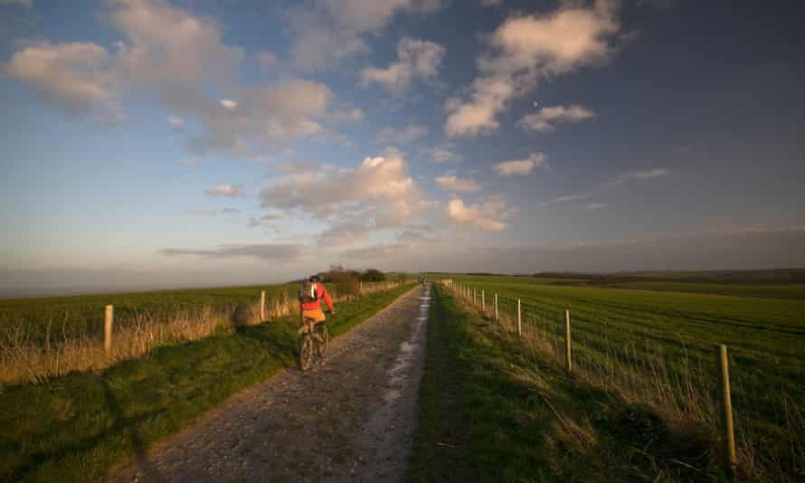 Cycling on the South Downs Way at dusk