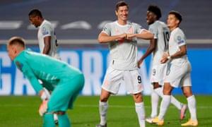 Bayern Munich's Robert Lewandowski celebrates after scoring his team's sixth goal.