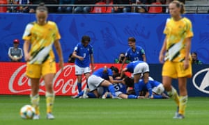 Italy's Barbara Bonansea is congratulated by teammates after scoring her second goal.