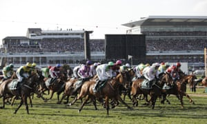 The field goes off at the start of the 2018 Grand National.