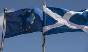 The Scottish Saltire and European Union flags