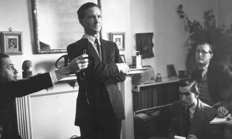 Kim Philby holds a press conference after being cleared of spying charges by Harold Macmillan