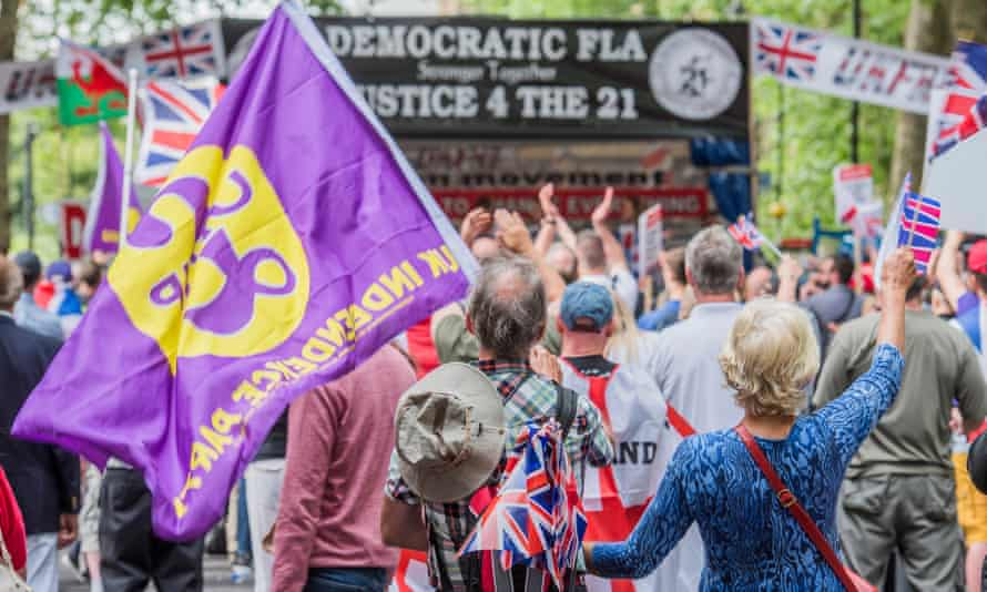 Coalescing … marchers counter London's 23 June anti-Brexit protest. The 100-strong march was organised by the Football Lads Alliance and the Freedom Association, with Ukip in attendance