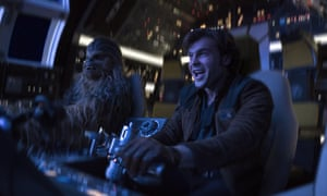 Alden Ehrenreich as Han Solo with Joonas Suotamo as Chewbacca in Solo: A Star Wars Story.