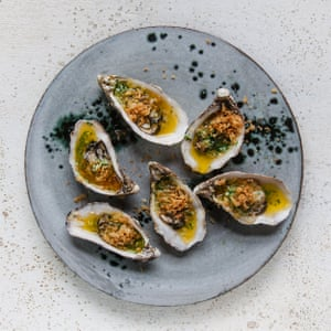 Crisp and buttery: garlic baked oysters.