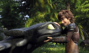 Toothless the dragon and Hiccup.