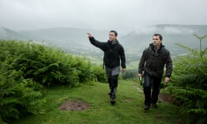Author Owen Sheers, on the left, and Oliver Balch walking up Hatterall Ridge in the Black Mountains