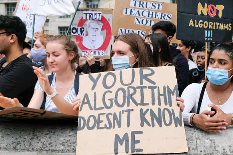 A schools exams protest in London in August 2020.