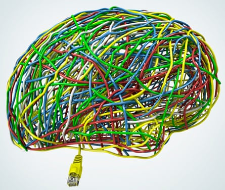 Brain made of cables of diferent colors and plug