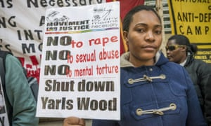 Doreen Nassanga, a Ugandan asylum seeker, protests outside Yarl's Wood detention centre.