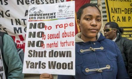 Doreen Nassanga, a Ugandan asylum seeker, protests outside Yarl's Wood detention centre.