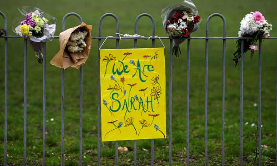 Flowers and placard for Sarah Everard
