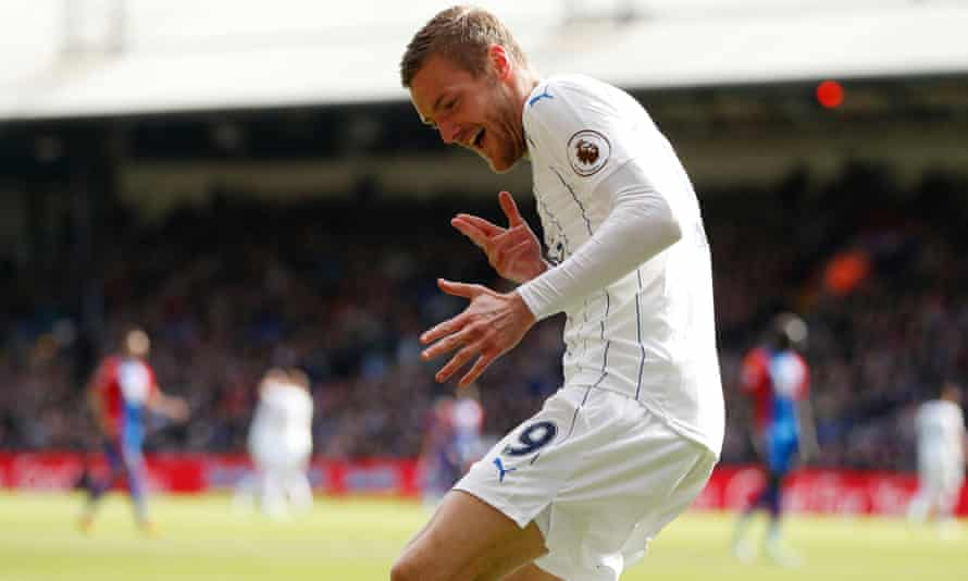 Jamie Vardy celebrates scoring for Leicester.