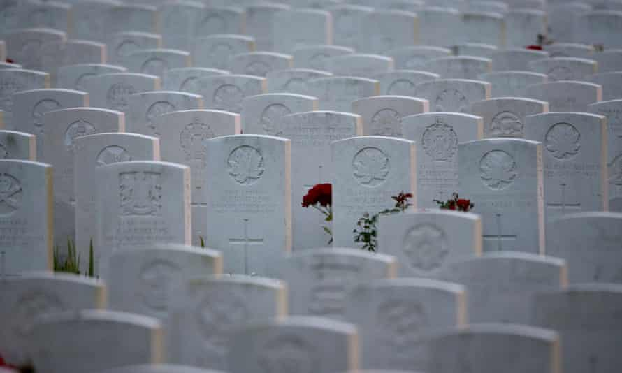 Rows of headstones marking the graves at Tyne Cot Commonwealth War Graves Commission Cemetery on on August 3, 2014 in Passchendaele, Belgium