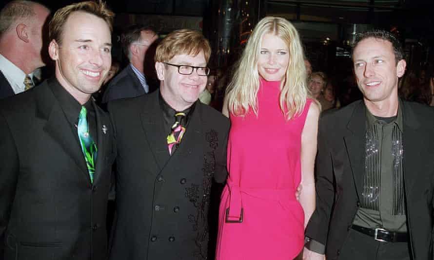 Patrick Cox (right) with David Furnish, Elton John and Claudia Schiffer