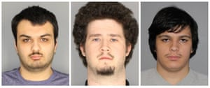 The adult suspects: Vincent Vetromile, 19, of Greece, New York (L to R), Brian Colaneri, 20, of Gates, New York and Andrew Crysel of East Rochester, New York.