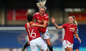 Manchester United's Lauren James celebrates with teammate Millie Turner after scoring an excellent goal.